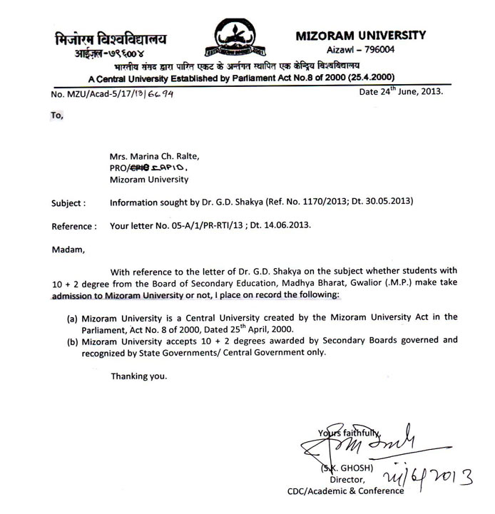 Board Of Secondary Education Madhya Bharat Gwalior